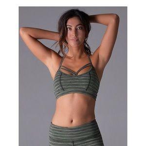 Olive striped halo sports bra